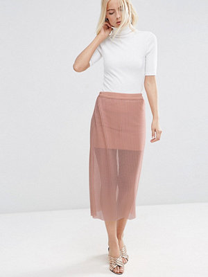 ASOS Pleated Skirt in Sheer Mesh - Nude