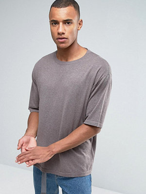 ASOS Oversized Boxy Fit Knitted T-shirt in Stone