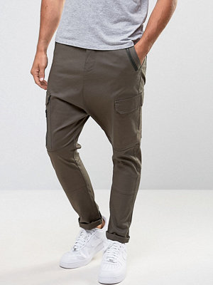 ASOS Drop Crotch Cargo Trousers with Zip Details in Khaki