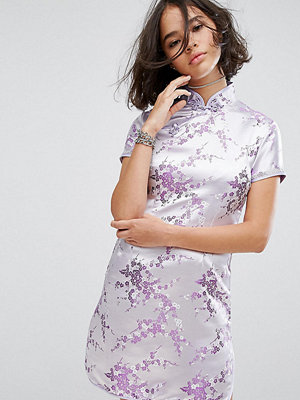 Reclaimed Vintage Inspired Mini Dress In Lilac Brocade With Diamante Trim - Lilac