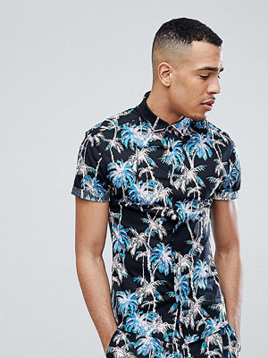 ASOS DESIGN Tall skinny fit shirt with palm print