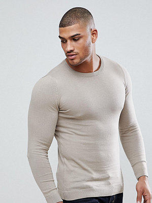 ASOS TALL Muscle Fit Cotton Jumper In Oatmeal - Oatmeal