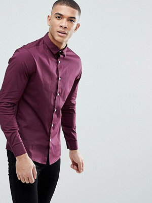 ASOS DESIGN skinny shirt in burgundy