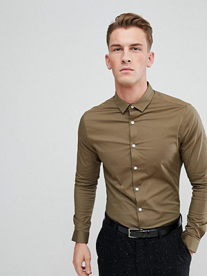 ASOS DESIGN skinny shirt in khaki