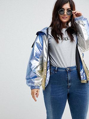 ASOS Curve ASOS DESIGN Curve metallic panel rain jacket