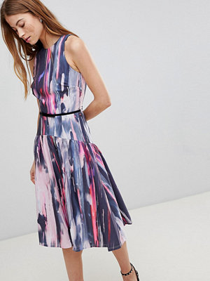 Little Mistress Smudge Print Midi Dress