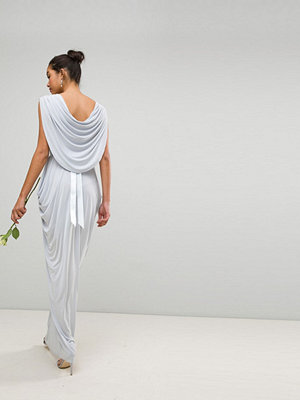 Club L Bridesmaid Wrap Over Draped Maxi Dress With Cowl Back Detail & Diamonte Belt