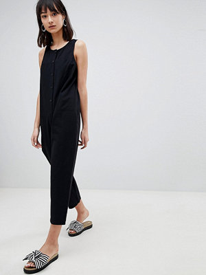 ASOS DESIGN Washed Cotton Boilersuit With Button Detail
