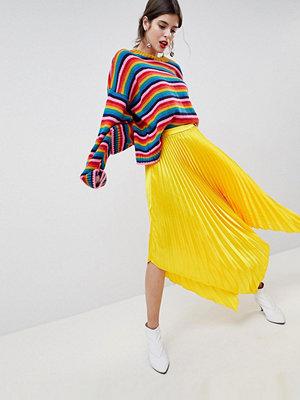 ASOS DESIGN satin pleated midi skirt with hanky hem