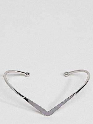 ASOS Curve armband Exclusive V Shape Cuff Bracelet - Rhodium
