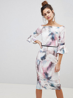 Little Mistress Watercolour Print Pencil Dress With Fluted Sleeves.
