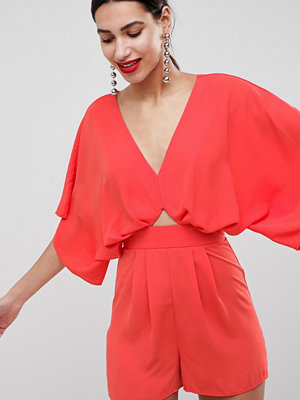 ASOS DESIGN Playsuit With Kimono Sleeve And Cut Out