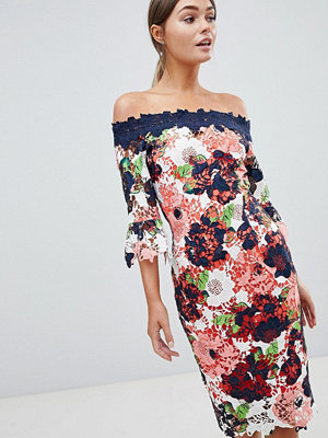Paper Dolls Bardot Floral Printed Lace Pencil Dress