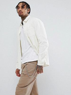 ASOS DESIGN Overshirt In Cord In Ecru