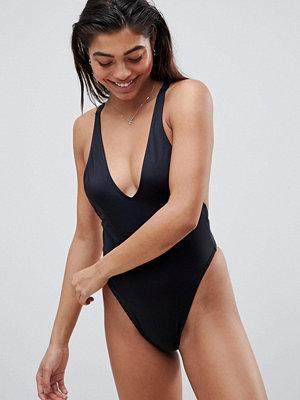 Baddräkter - ASOS DESIGN V Front High Leg Thong Swimsuit