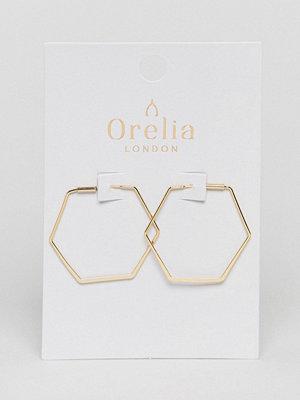 Orelia örhängen Gold Plated Medium Hexagon Hoop