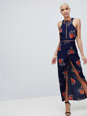 Girl In Mind Floral Open Back Wrap Maxi Dress
