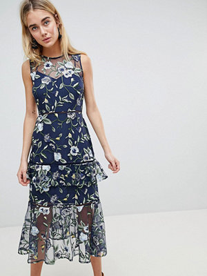 Warehouse Floral Embroidered Tiered Midi Dress