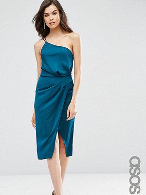 Asos Tall One Shoulder Cami Drape Hammered Satin Midi Pencil Dress