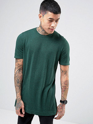 ASOS Longline Knitted T-shirt in Petrol Blue