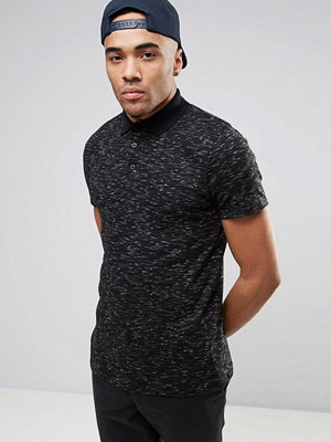 ASOS Muscle Polo Shirt In Textured Inject Rib - Charcoal