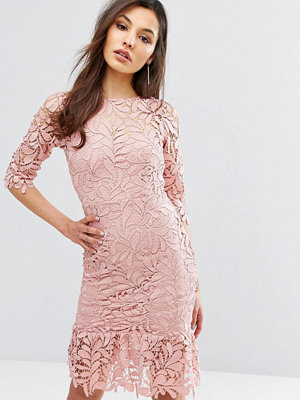 Paper Dolls Lace Midi Dress with Peplum Hem and 3/4 Sleeve - Rose blush
