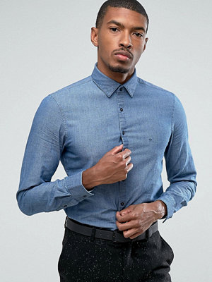 Calvin Klein Skinny Smart Shirt In Woven Textured Denim - Navy
