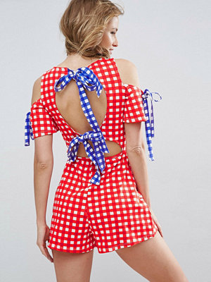 ASOS Jersey Bow Back Playsuit in Gingham