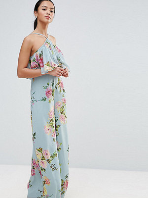 ASOS Petite Jumpsuit in Crinkle with Wide Leg and Halter Neck in Floral Print