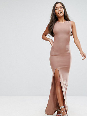 Club L High Neck Maxi Dress - Nude