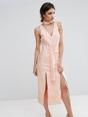 Lavish Alice Abstract Print Midi Dress With Double Split