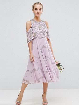 ASOS Petite Wedding Embellished Floral Cold Shoulder Midi Dress