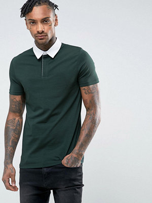 ASOS Muscle Rugby Polo Shirt In Bottle Green - Cactus
