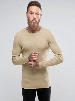 ASOS Longline Muscle Fit Ribbed Jumper In Oatmeal - Oatmeal