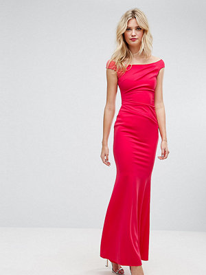 City Goddess Tall Bardot Fishtail Maxi Dress - Raspberry (12)