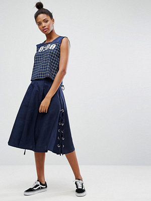 Ziztar Midnight Lace Up Midi Skirt