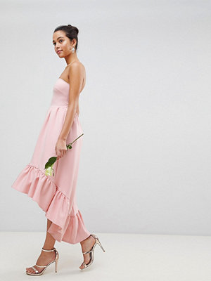 Club L Bandeau Drop Hem Frill Maxi Dress - Dusty pink