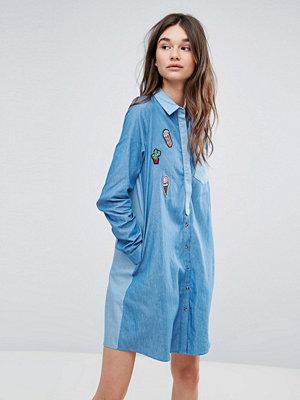 Liquorish Denim Shirt Dress With Patches