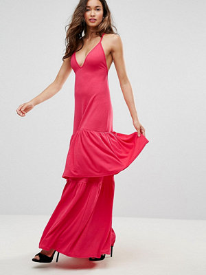 Club L Plunge Neck Ruffle Layer Detail Maxi Dress