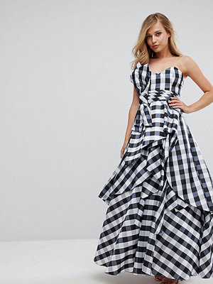 Fame and Partners Bardot Maxi Prom Dresswith Tie Bow Front - Gingham