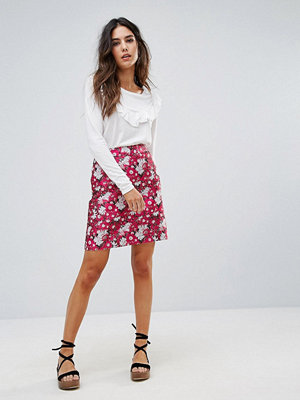 Warehouse Aster Jacquard Floral Skirt - Pink pattern