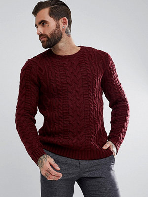 ASOS Chunky Cable Knit Jumper In Burgundy - Burgundy