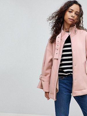 ASOS Petite Bonded Jacket with Borg Lining and Metalwear