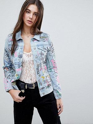 Glamorous Graffiti Denim Jacket - Light blue
