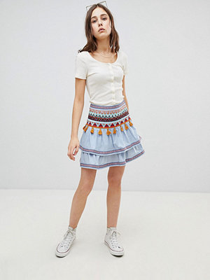 Glamorous Tiered Embroidered Skirt