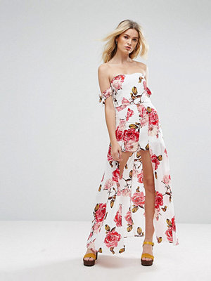 Parisian Off Shoulder Floral Maxi Dress With Shorts - White / pink