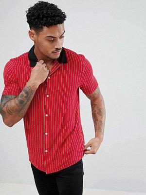 ASOS DESIGN oversized stripe shirt with contrast collar
