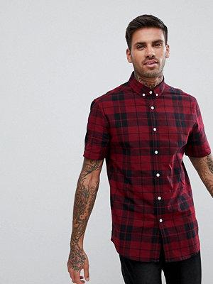 ASOS DESIGN stretch slim poplin check shirt