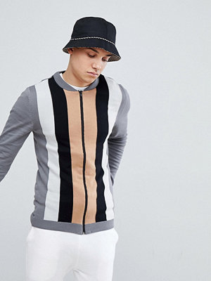 Bomberjackor - ASOS Muscle Fit Knitted Bomber Jacket With Vertical Stripe In Grey