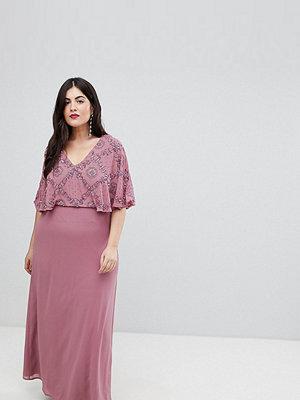Lovedrobe Luxe Plus Lovedrobe Luxe Flutter Sleeve Embellished Maxi Dress - Nostalgia rose